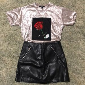 Forever 21 Black Faux Leather Mini Skirt